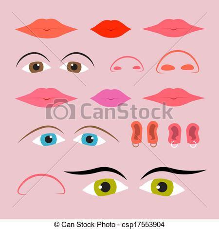imagenes ojos nariz boca orejas vector clip art de conjunto narices bocas vector ojos