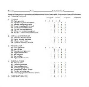 Evaluation Template For Presentation by Doc 600642 Presentation Evaluation Form In Pdf Sle