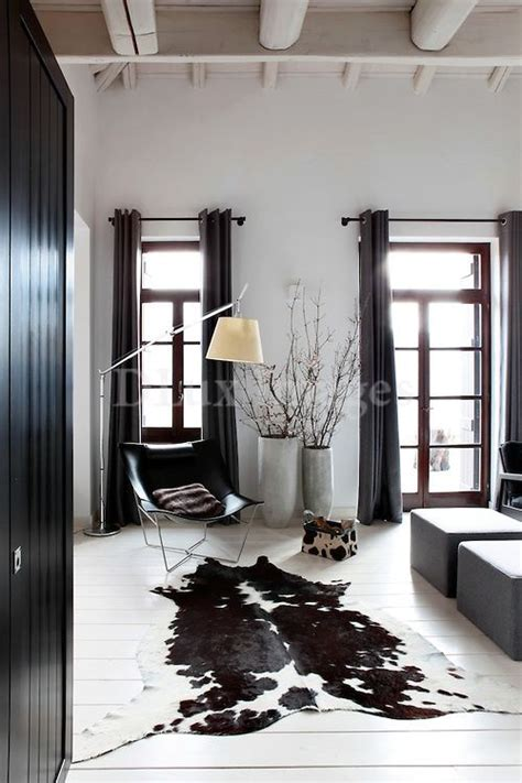 Cowhide Rug Living Room Ideas - black and white cowhide rug living room cow hide rug