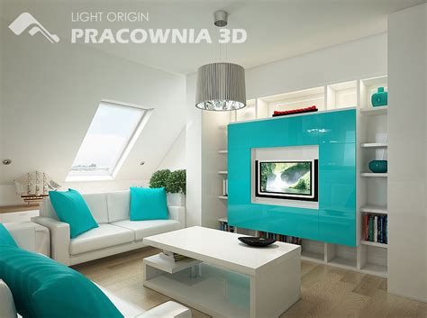 aqua living room and groovy small space apartment designs