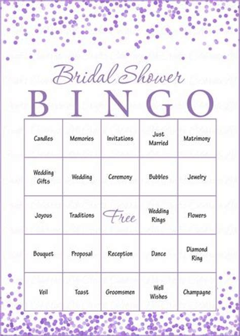 Free Printable Bridal Bingo Sheets