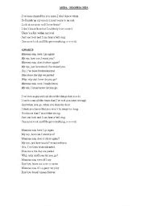 mamma abba testo worksheets abba lyrics mamma
