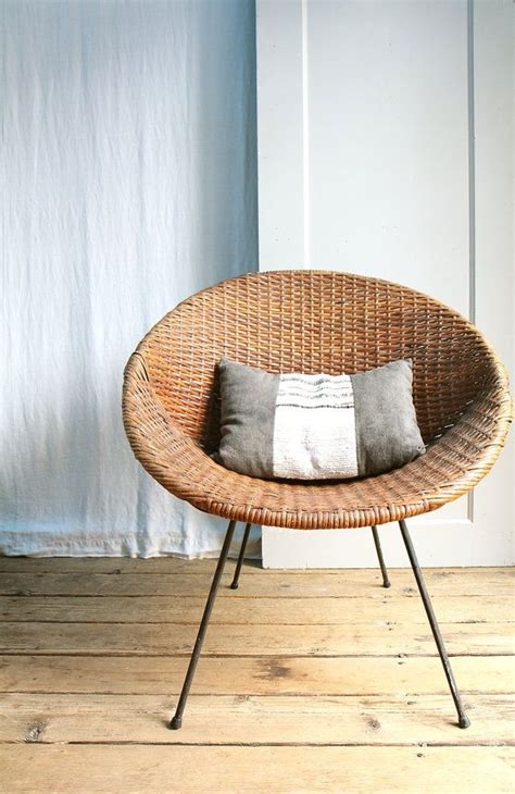 vintage mid century wicker basket chair local by