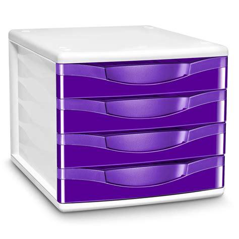 bloc 4 tiroirs cep module de classement 4 tiroirs gloss violet 894g