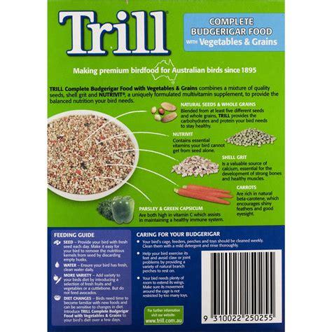 trill bird seed trill bird food budgie veg grains 500g woolworths