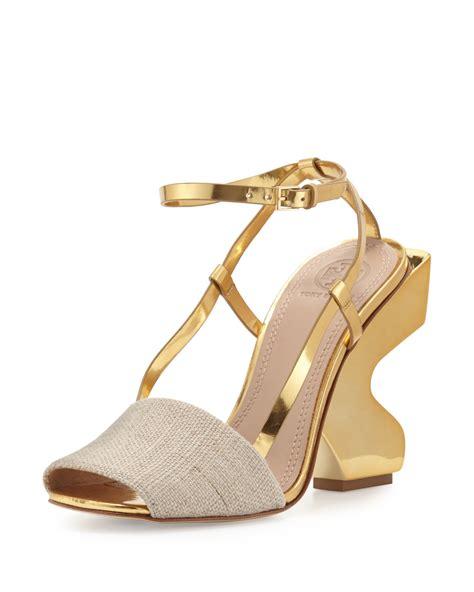 Heels Gp 06 90 burch curio curve heel 110mm sandal in metallic lyst