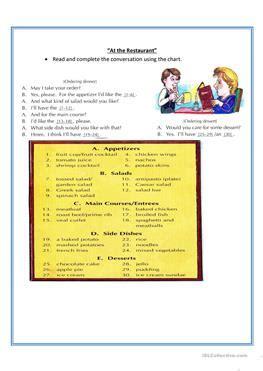 32 free esl at the restaurant worksheets