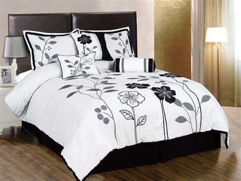 Black Grey Bedding Sets 7pcs White Gray Black Embroidered Applique Floral Comforter Set Ebay