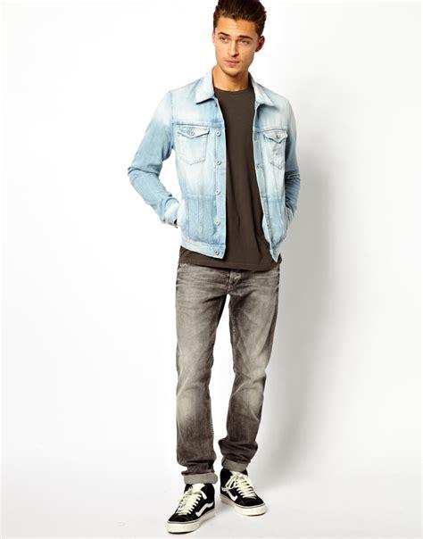 light jean jacket mens lyst pepe jeans pepe denim jacket legend slim fit light