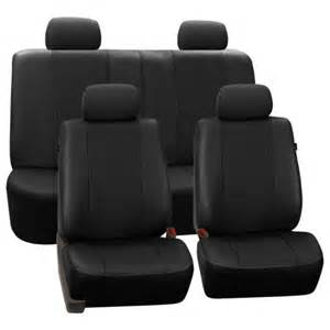 Split Bench Seat Covers Walmart Fh Black Deluxe Faux Leather Airbag Compatible And