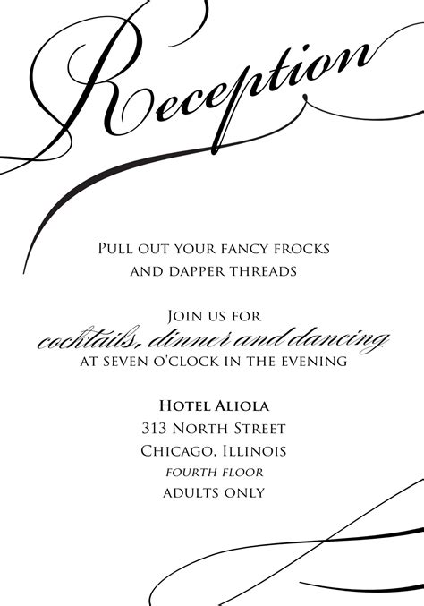 Reception Invitation Template Reception Amazing Stylish Black And White Wedding Reception Invitation Inspiration With Simple