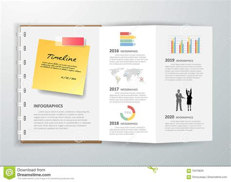 infographic book layout design a book of timeline infographic for business concept