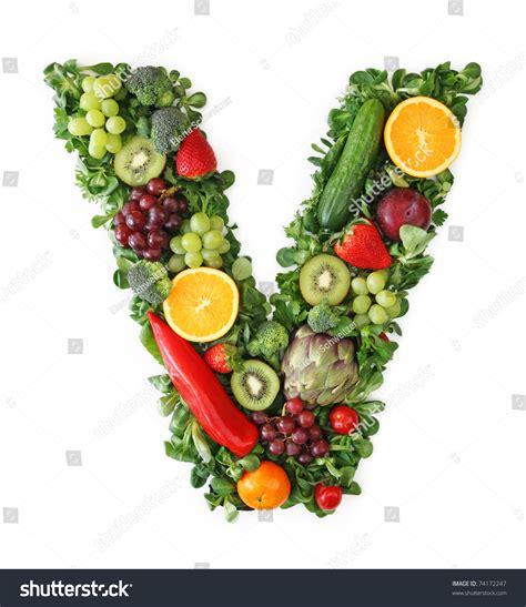 fruity v fruit vegetable alphabet letter v stock photo 74172247