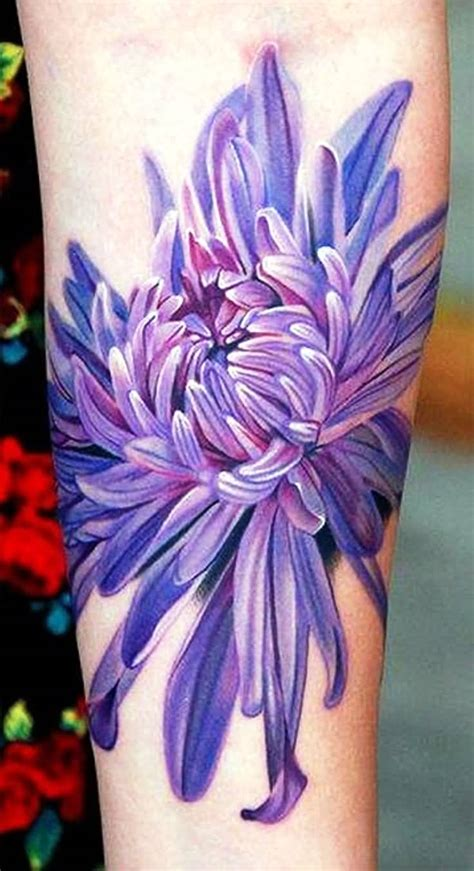 purple tattoo ink 14 beautiful chrysanthemum tattoos for