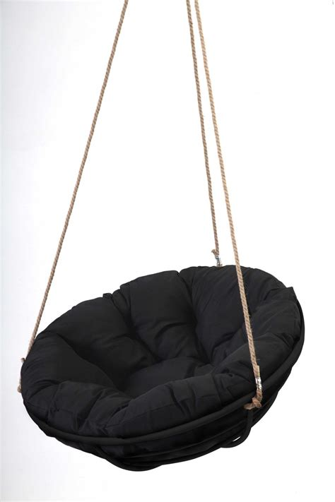 hanging chair swing black framed hanging papasan with rope papsan chair