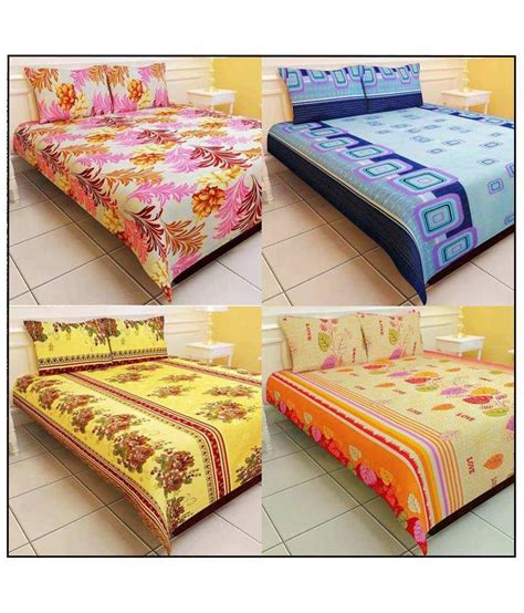 polyester bed sheets k2m2 combo of 4 floral polyester double bed sheets with 8