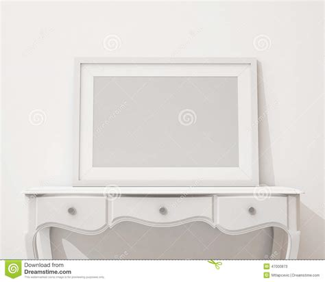 white a frame desk mock up blank black picture frame on the white desk and