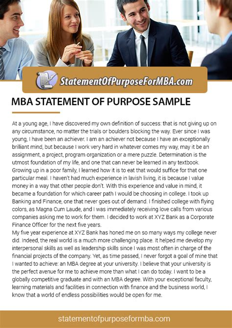 Statement Of Purpose For Mba Admissions by Sop Sles