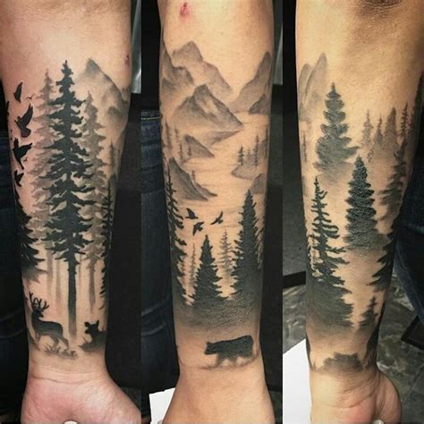 Black And Grey Forest Tattoo | black and white dark forest tattoo on left arm