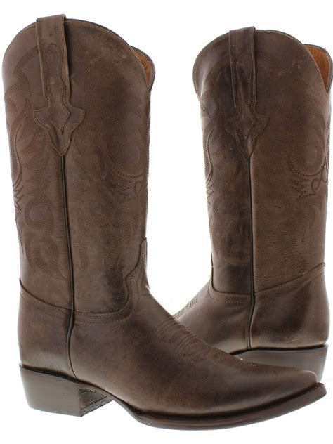 s original brown plain leather western cowboy boots