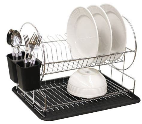 Home Basics 2 Tier Dish Rack by Home Basics Dish Drainer 2 Tier Black By Home