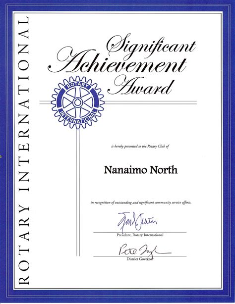 club receives rotary international significant achievement