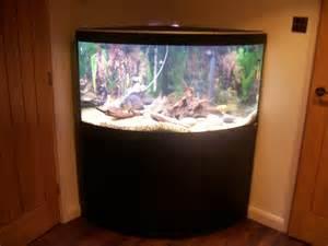 Description: Fluval Venezia 350 corner aquarium with black stand. Full