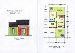 denah layout furniture desain rumah mungil type 27