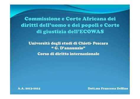 Dispense Diritto Internazionale by Corte E Commissione Africana Dispense