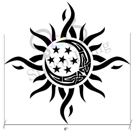 sun and moon tribal tattoo sun moon tribal 6 quot vinyl decal sticker car window