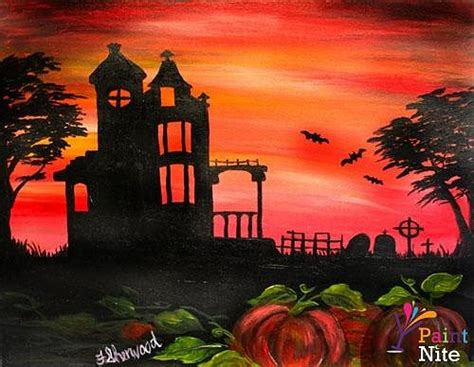 paint nite island pour house paint nite haunted house at sunset