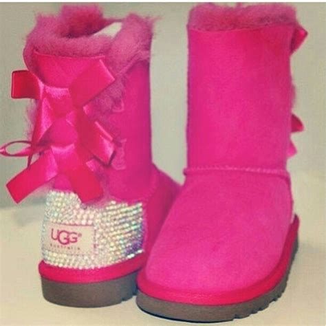 pink ugg boots with bows pink uggs with bows and rhinestones i think yes