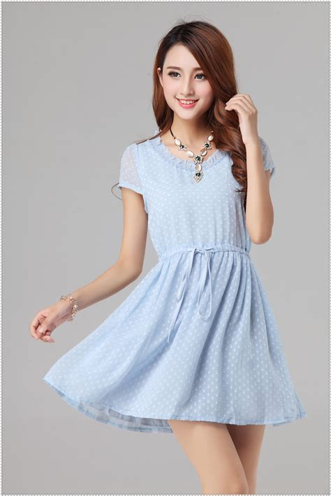 Hair Color Wash Out - korean new arrival wholesale light blue dress short sleeve dot printed honey womens dress