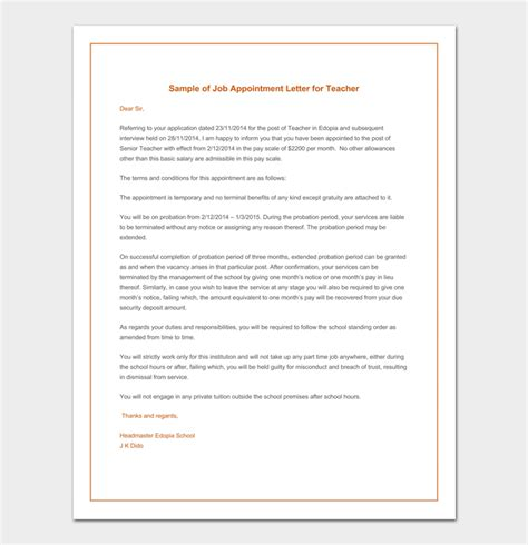 temporary appointment letter template temporary appointment letter 9 sles formats