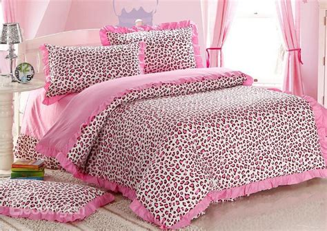 Sexy Pink Leopard Print 4 Piece Bedding Sets Duvet Cover Pink Cheetah Print Bed Set