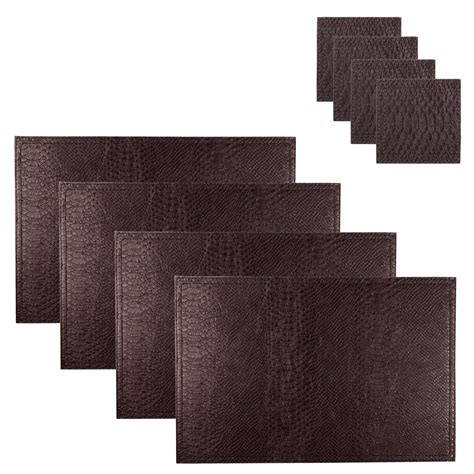 Dining Table Place Mats Set Of 4 Faux Leather Snakeskin Coasters Place Mats