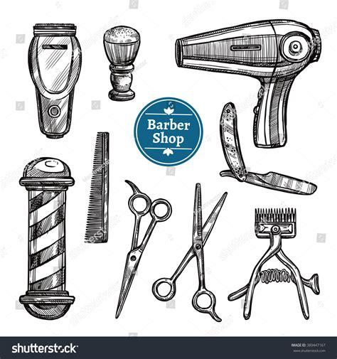 Stiker Pengiriman Shop Black Doodle barber shop attributes tools accessories doodle stock vector 389447167