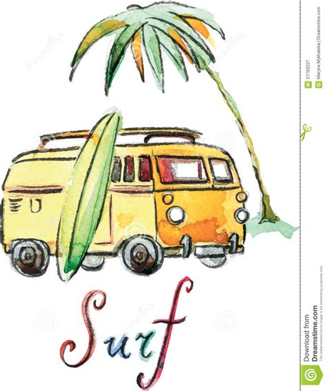 surf car clipart watercolor vector surfing car stock vector image 57793227