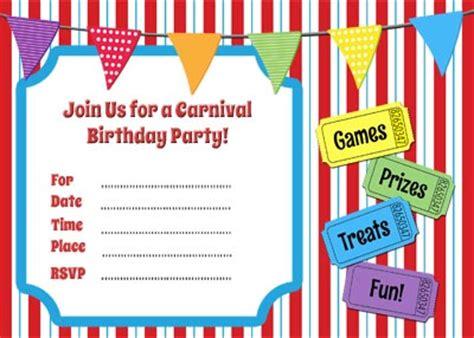 carnival themed birthday invitation templates free carnival birthday checklist