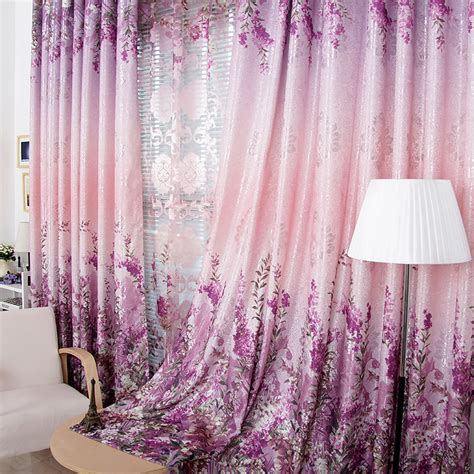 purple flower curtains reversible chaise sofa with ottoman and chair damro