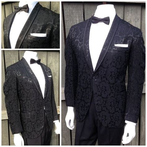 picture of 1950s prom tuxedo vintage 1950s mens black paisley borcade vintage mens