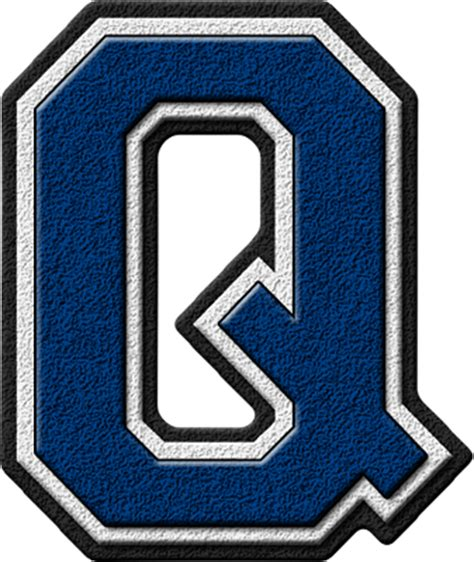College With The Letter Q Presentation Alphabets Royal Blue Varsity Letter Q