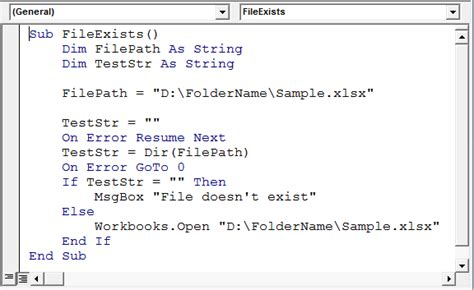 determine if a workbook exists using vba in microsoft