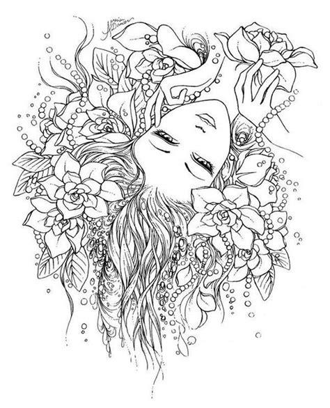 F17 Floral Fashion Air Mask Masker Motif Bunga coloriage coloring femme flower fleur coloriage coloring flower and zen