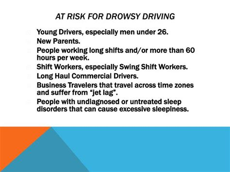 swing shift syndrome ppt drowsy driving powerpoint presentation id 2287368