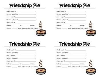 recipe for friendship template friendship what it takes and activities on
