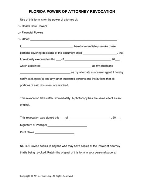 free florida revocation of power of attorney form pdf
