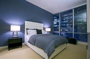 Decorating Ideas For Bedroom With Blue Walls Large Glass Windows For Modern Bedroom Decorating Ideas
