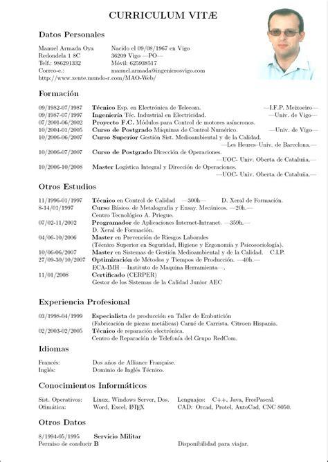 Modelo Curriculum Vitae Descargar Pdf Manuel Armada Oya