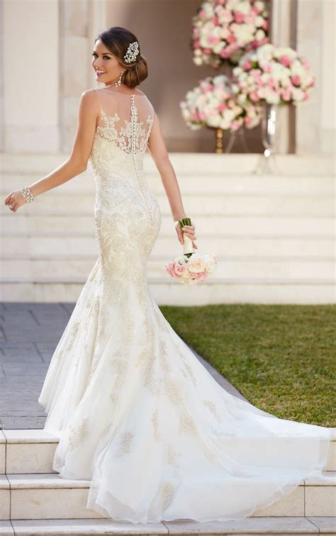 fit  flare wedding dress  illusion neckline